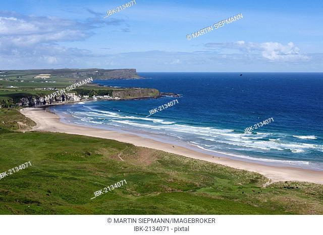 White Park Bay or Whitepark Bay with Portbradden, Antrim Coast, County Antrim, Northern Ireland, United Kingdom, Europe