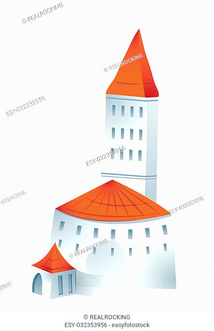 castle with red roof isolate on a white background