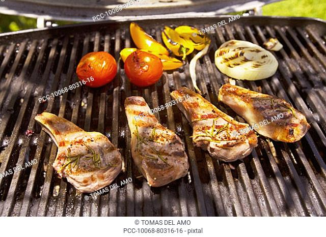 Barbecue scene, Steaks on the grill