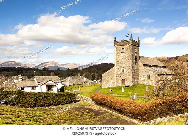 Saint Michael and All Angels parish church, Hawkshead, Lake District, Cumbria, England