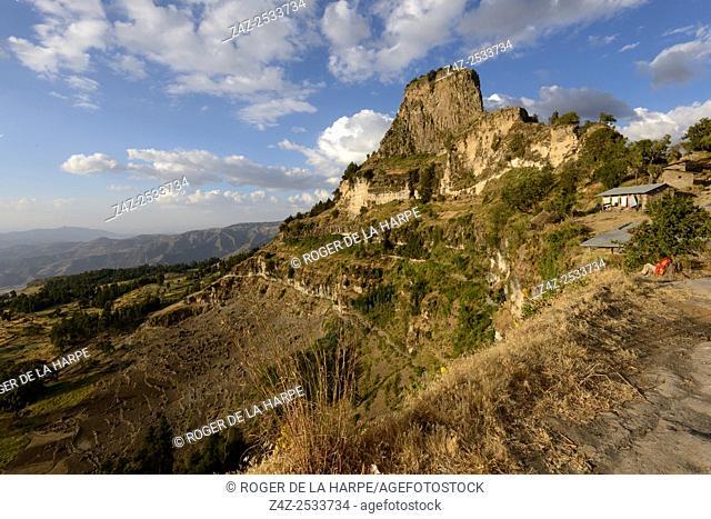 Scenic view from the Asheton Maryam Monastery. Lalibela. Ethiopia