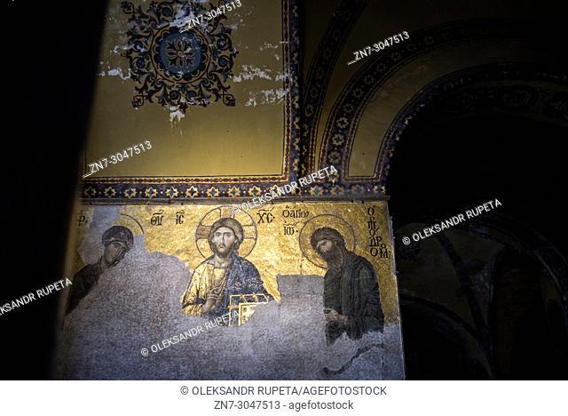The Deesis Mosaic, Christ with the Virgin Mary and John the Baptist mosaic, Hagia Sophia, Istanbul, Turkey