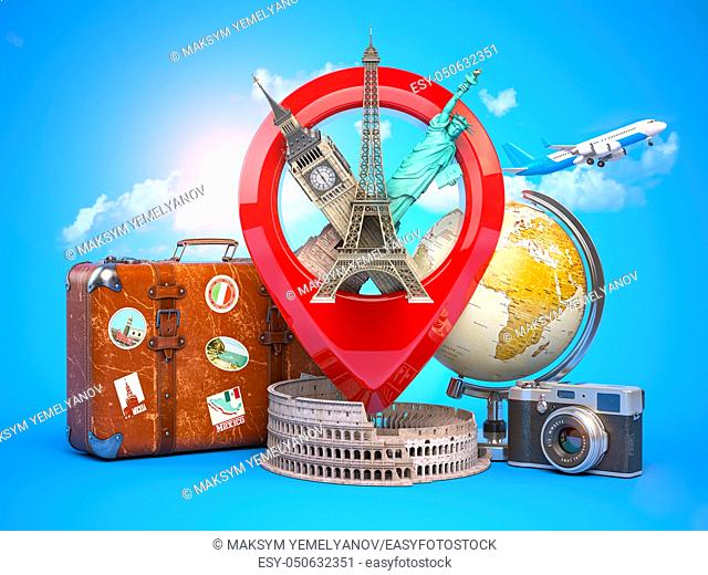 Travel and tourism concept. Pin pointer with famous tourist attractions, camera, suitcase and airplane. Eiffel tower, big ben, statue of liberty and coliseum