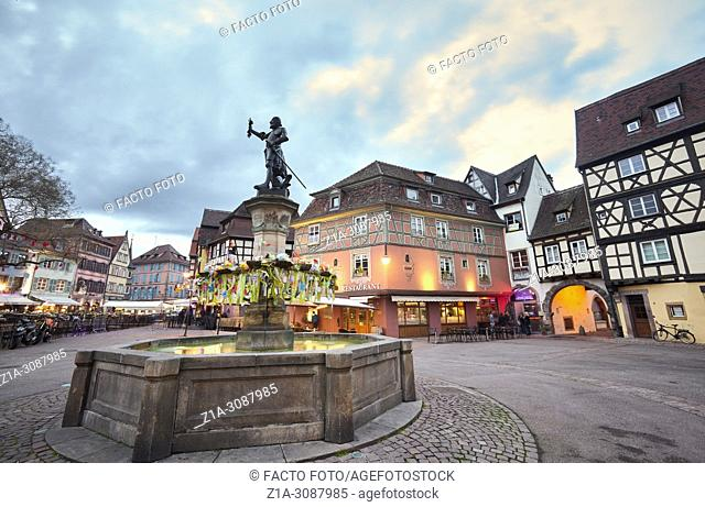 Schwendi fountain at the city center. Colmar. Alsace. Grand Est. France.