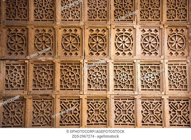Carved wall of Sarkhej Roza, mosque and tomb complex. Makarba, Ahmedabad, Gujarat, India