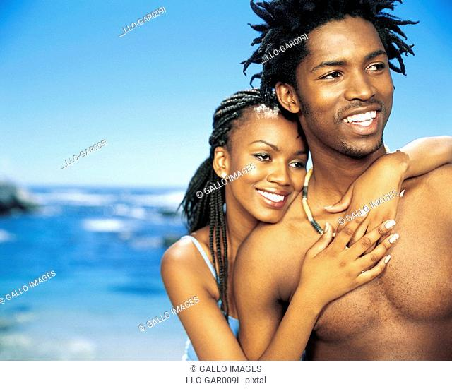 Young African Couple on the Beach  Cape Town, Western Cape Province, South Africa
