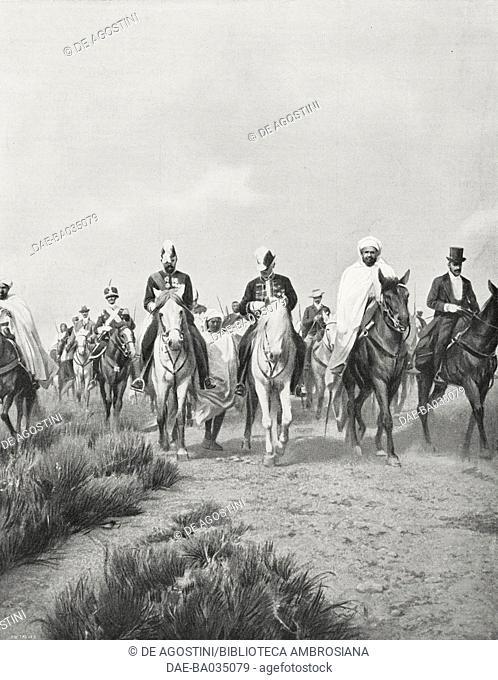 Giulio Malmusi's Italian delegation in Fez for the Algeciras Treaty, June 8- July 9 1906, Morocco, photograph by G Nottar, from L'Illustrazione Italiana