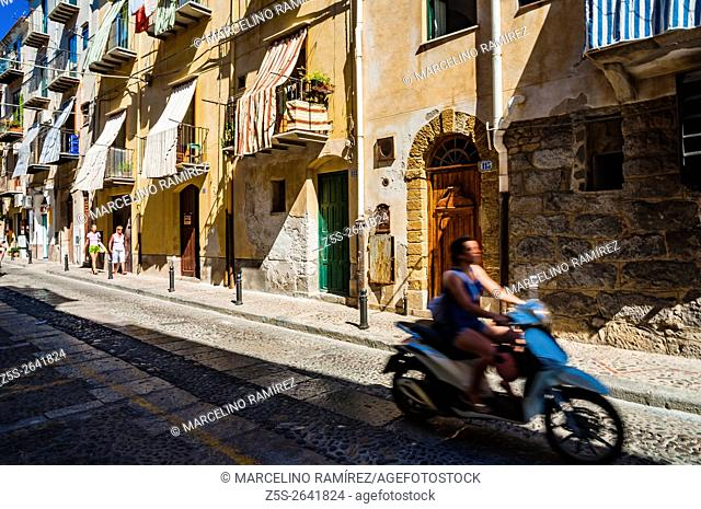 Picturesque streets of the city of Cefalu. Province of Palermo, located on the northern coast of Sicily, Italy