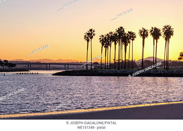 Sunrise, early morning at Mission Bay Park. San Diego, California, USA