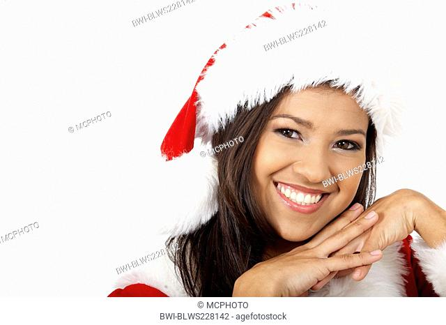 beautiful female santa portrait smiling