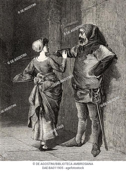 Against orders, a woman brings food to a prisoner, by Valentine Walter Bromley (1848-1877), illustration from the magazine The Illustrated London News