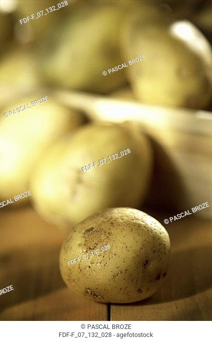 Close-up of raw potatoes on the table