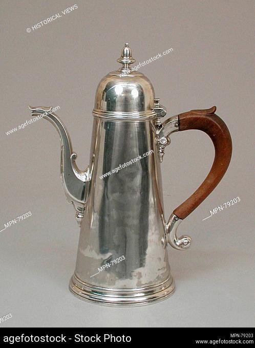 Coffeepot. Maker: Joseph Collier; Date: 1731-32; Culture: British, Exeter; Medium: Silver; Dimensions: 10 1/16 x 8 1/8 in. (25.6 x 20