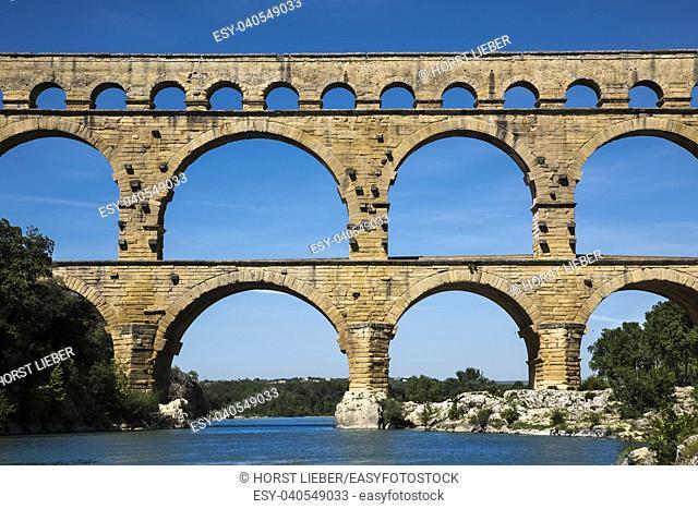 Ancient Roman Aqueduct - Pont du Gard, near Nimes, Languedoc France, Europe