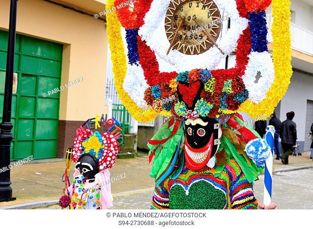 Boteiros characters at 'entroido' carnival, Viana do Bolo, Orense, Galicia, Spain