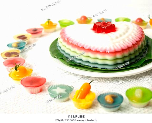 Colorful Coconut jelly Thai dessert with Look Choup , the dessert plated balls