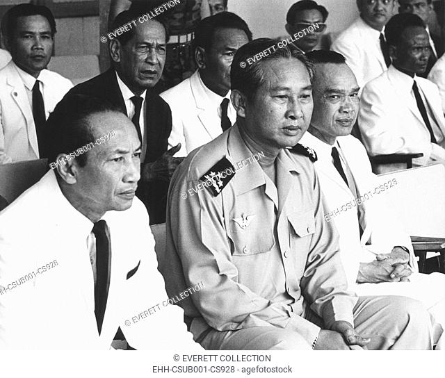 New leaders of Cambodia after coup d'etat deposing Prince Norodom Sihanouk on March 18, 1970. L-R: Yem Sembaur, Foreign Minister, Gen