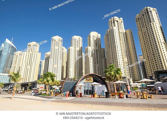 View of new beachfront retail and eating outlets and facilities at The Beach development at JBR Jumeirah Beach Residences in Marina district of Dubai United...