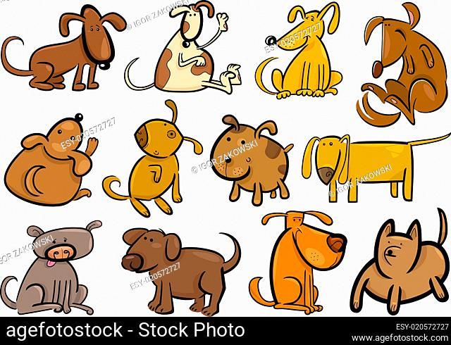 cartoon dogs or puppies big set