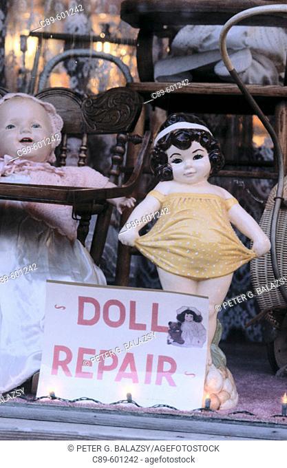 Dolls in shop window