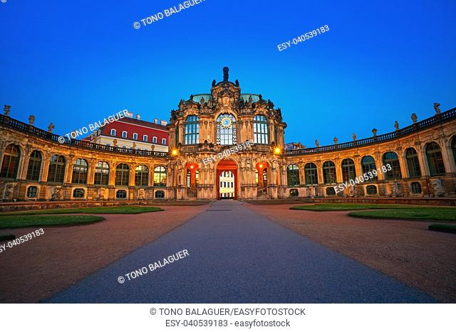 Dresden sunset at Zwinger in Saxony of Germany