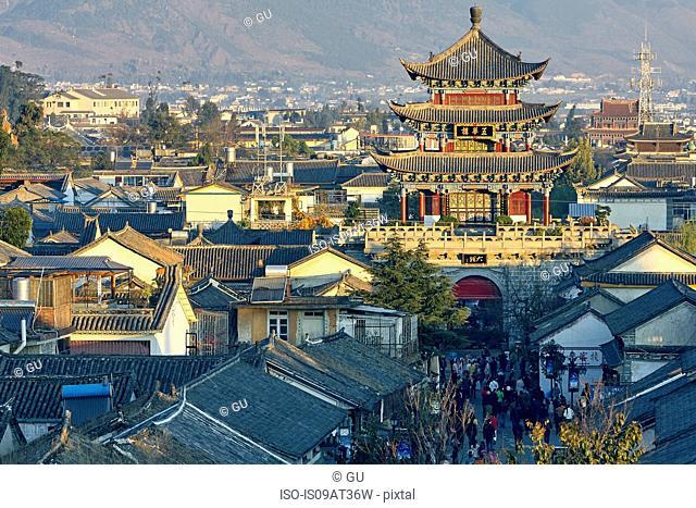 High angle view of pagoda and rooftops, Dali, Yunnan, China