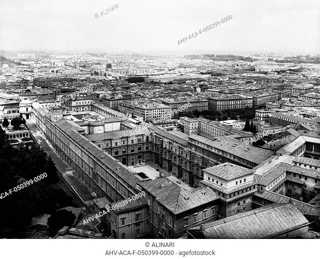 Panoramic view of the Vatican buildings in Rome, from the dome of the Basilica of St. Peter, shot 1953 ca. by Alinari, Fratelli