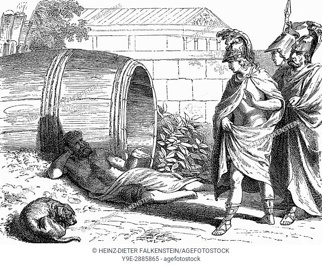 Alexander the Great visiting Diogenes, an ancient Greek philosopher, at Corinth