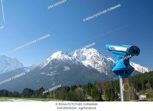Berchtesgaden, Berchtesgadener Land, Ramsau, Hochkalter, Winter, Schnee, verschneit, Vorfrühling, Vorfruehing, Frühling, Fruehling, Gipfel, Fernrohr