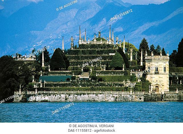 Southern shore of Isola Bella with the Borromeo gardens, Stresa, Piedmont, Italy