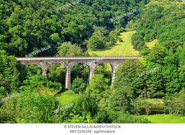 Headstone Viaduct, Monsal Head looking in to Monsal Dale, Derbyshire, Peak District National Park, England, UK