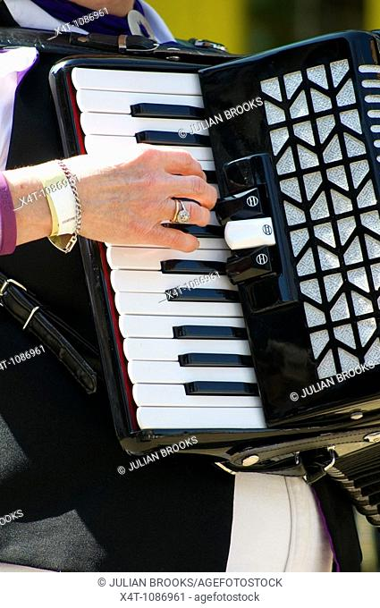 close up of a musician's hand playing an accordion to accompany morris dancing at the Oxford Folk Festival