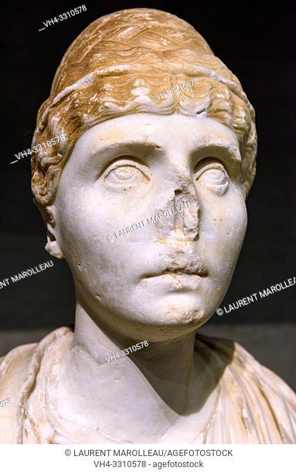 Torso of Imperator, Marble (2nd or 3rd century AD) from Evora Museum, Evora, Alentejo Region, Portugal, Europe