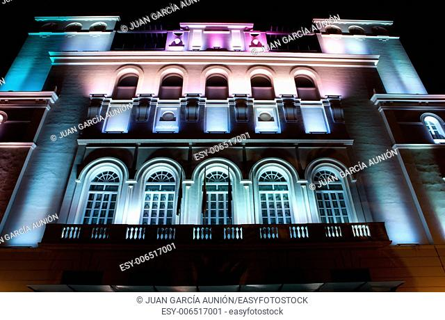 Building facade illuminated with several colors led lights