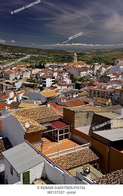 Rooftop tiles with Church of Santa Catalina at Loja Granada Spain