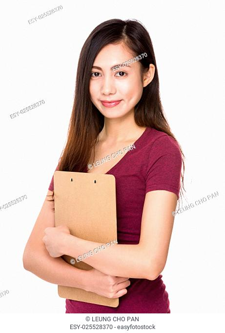 Asian woman holding with file board