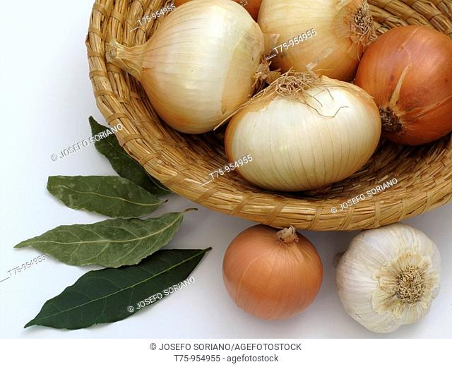 Onion, garlic and bay leaves