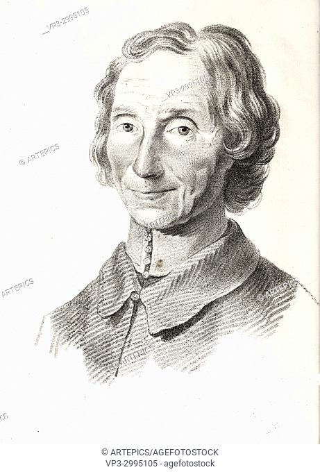 Portrait of Nicolas Malebranche, philosopher - French engraving - 18th century