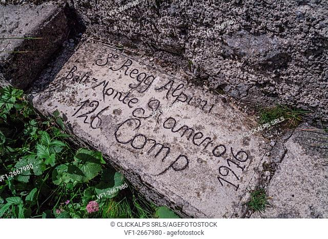 Kleiner Pal, Austria. Written into the rock by Italian soldiers