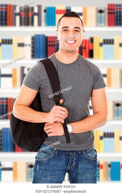 Confident Male Student Carrying Backpack