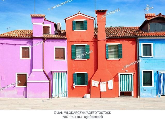 Burano - colorful houses in Burano near Venice, (Burano Lagoon Island), Italy