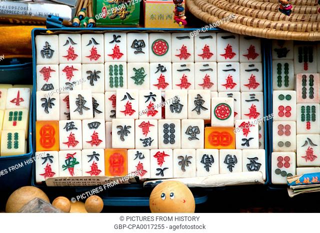 China: Mah jong set at the Bird and Flower Market in the Old Muslim Quarter on Jingxing Road off Zheng Yi Road, Kunming, Yunnan Province
