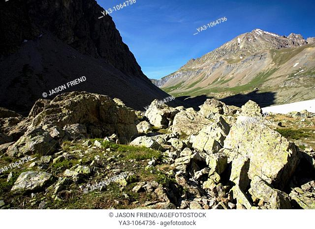 France, Rhône-Alpes, The Ecrins National Park  Rocks deposited by glacial river and rockslides near the Plan De Valfourone