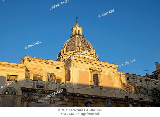 Italy, Sicily, Palermo, Pretoria square, San Giuseppe church