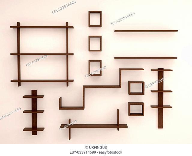 3d illustration of Wooden, randomly arranged on the light wall shelves