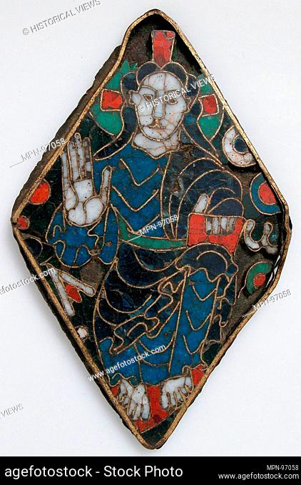 Plaque with Christ in Majesty. Date: ca. 1050-1100; Geography: Made in South France; Culture: South French; Medium: Cloisonné enamel on gilded copper alloy;...
