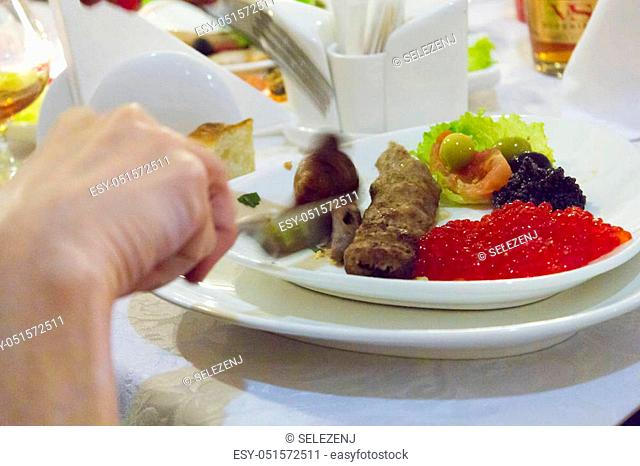 The food in a plate waits when she is eaten