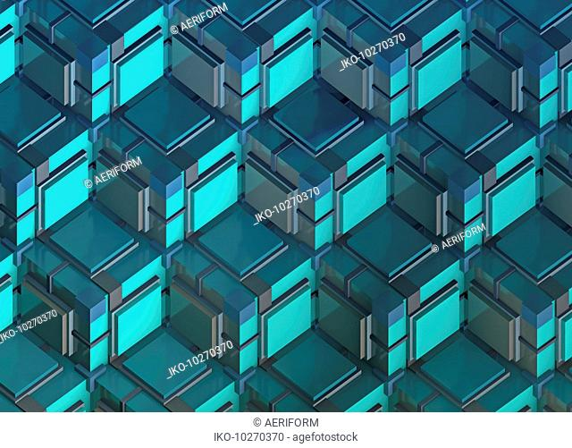 Full frame three dimensional repeat building block pattern