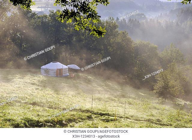 yurt, Parc du Silence, a unique location for training and retreat, Livradois-Forez Regional Nature Park, Puy-de Dome department, Auvergne region, France, Europe