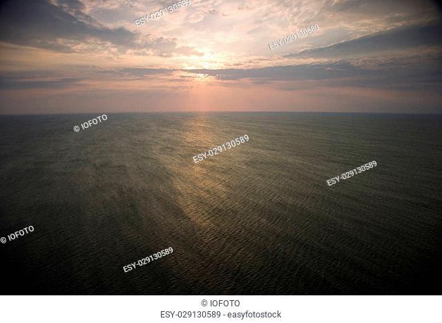 Scenic Bald Head Island North Carolina landscape of sunrise over ocean
